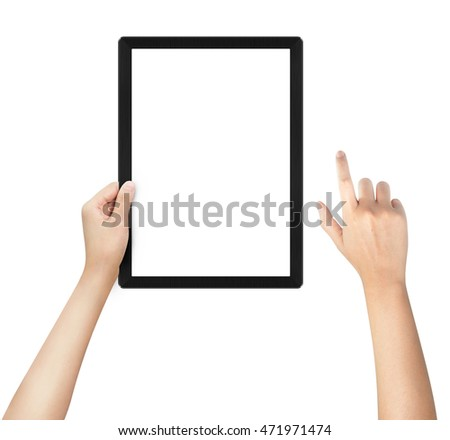 Woman hands holding electronic tablet with blank screen. Isolated on white. tablet pc.