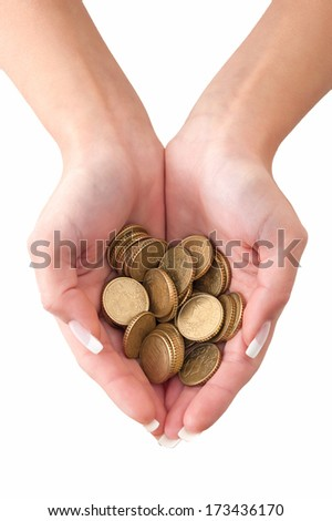 Woman hands holding euro coins on white background. - stock photo