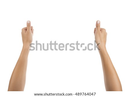 Woman Hands Holding Imaginary Item Isolated