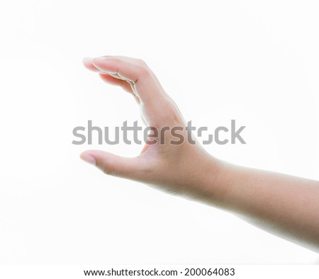 Woman hands holding isolate on over white backgrounds
