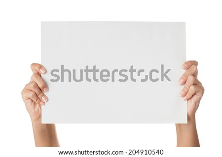 Woman hands holding paper isolated on white. - stock photo