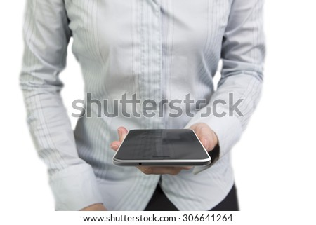 Woman hands holding smart phone with black touchscreen, isolated on white. - stock photo