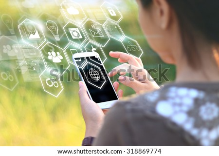 woman hands holding smartphone.Social media concept. - stock photo