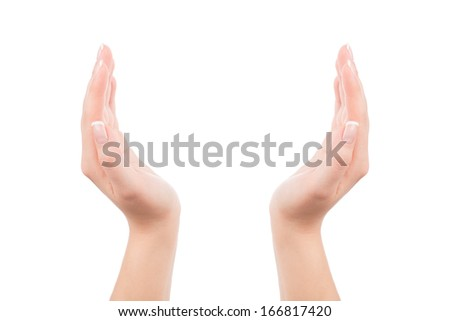 Woman hands holding something invisible, isolated on white. You can put any image or symbol between hands. - stock photo
