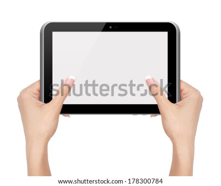 Woman hands holding tablet PC computer on white background.
