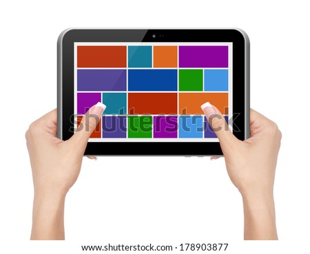Woman hands holding tablet PC with icons on white background.
