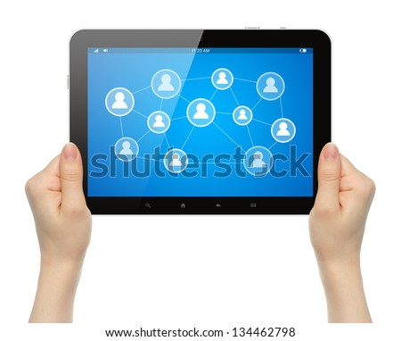 Woman hands holding tablet PC with social media illustration on white background - stock photo