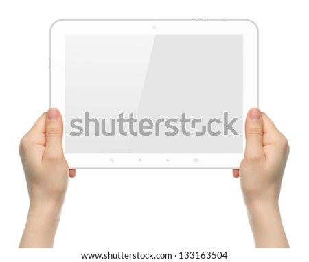 Woman hands holding white tablet PC on white background - stock photo