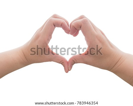Woman hands making a heart shape isolated on white background with clipping path. Love and relationship concept.