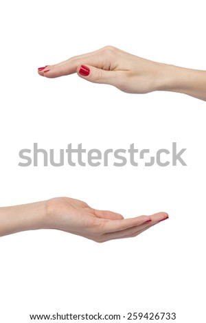 woman hands making protective sign isolated over white