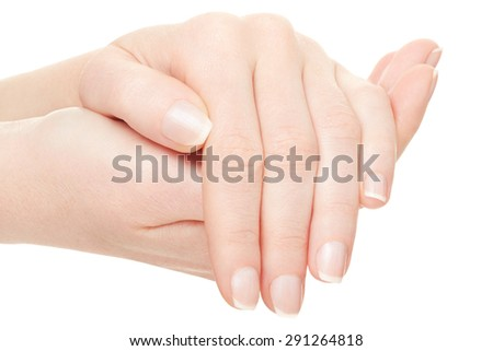 Woman hands manicure isolated on white, clipping path included