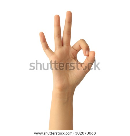 woman hands OK sign isolated on white background - stock photo