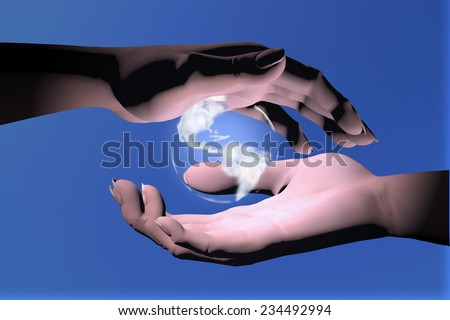Woman  hands protecting the earth globe.
