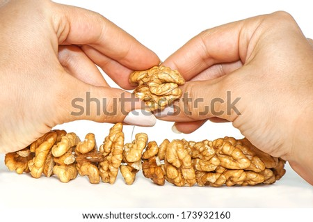 Woman hands threading walnuts for drying on white background