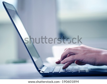 Woman hands typing on laptop - stock photo
