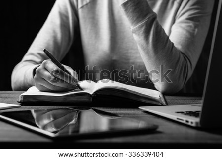 woman hands using laptop at office desk - stock photo