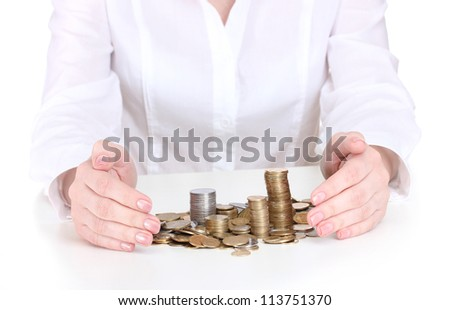 Woman hands with coins close up - stock photo