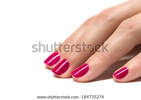 Woman hands with manicured pink  nails closeup. Skin and nail care.  - stock photo