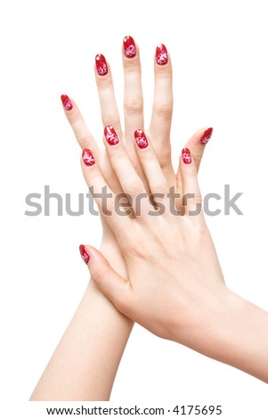 Woman hands with painted nails. Isolated on white.