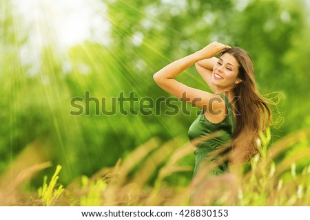 Woman happy beautiful active free girl stock photo 428830153 woman happy beautiful active free girl on summer green outdoor background voltagebd Images