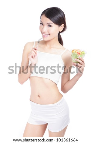 Woman happy eat salad isolated on white background, model is a asian girl - stock photo