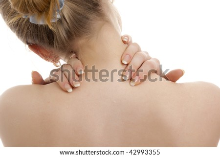 Woman has a back pain. Isolated. - stock photo
