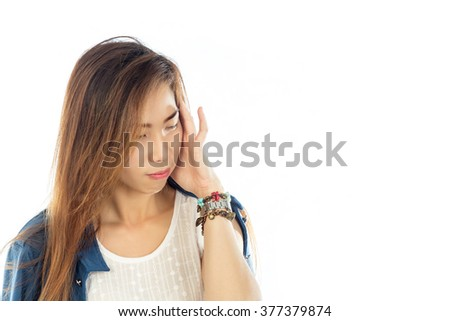 Woman has a headache, isolated on white background