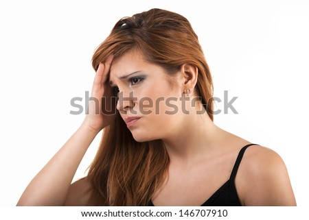 Woman has problem and suffering - stock photo