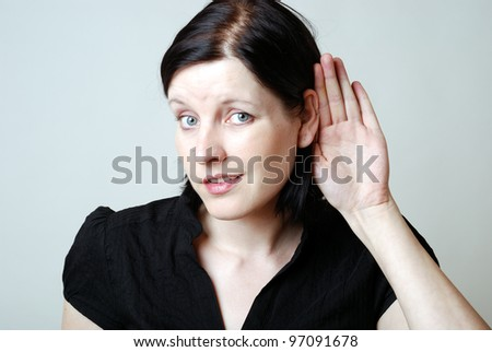 woman has problems with hearing