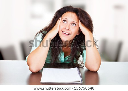 Woman has test anxiety - stock photo