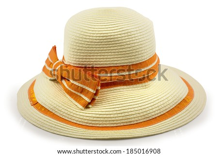 woman hat with bowknot isolated on white background - stock photo