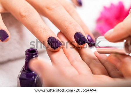 Woman having a nail manicure in a beauty salon with a closeup view of a beautician applying rich purple nail varnish with an applicator - stock photo