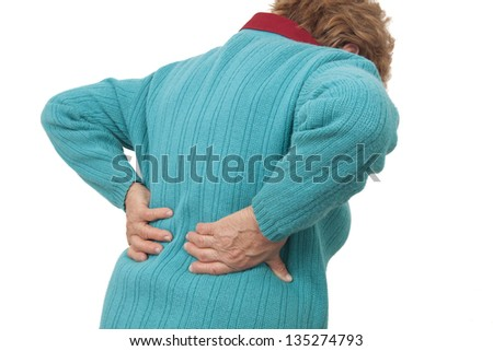 Woman having backache isolated on white background