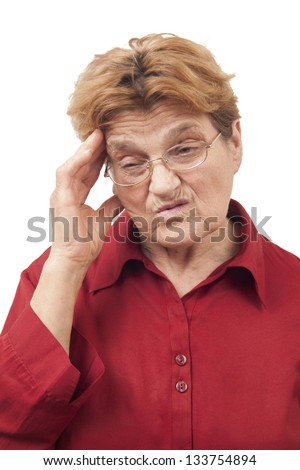Woman having headache isolated on white background