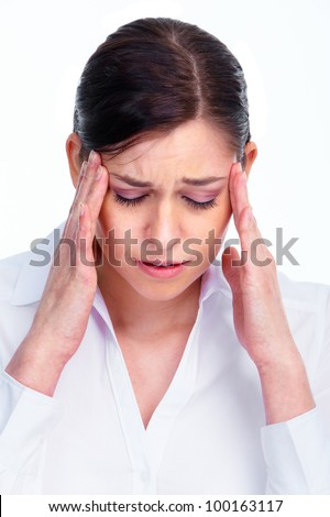 Woman having  headache. Stress and depression. Isolated on white background.