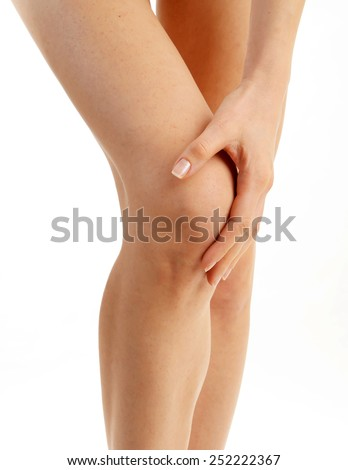 Woman having knee pain isolated