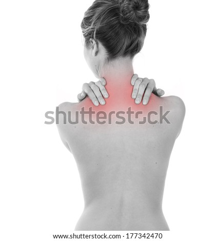 Woman having neck and trapezius muscles pain, isolated on white