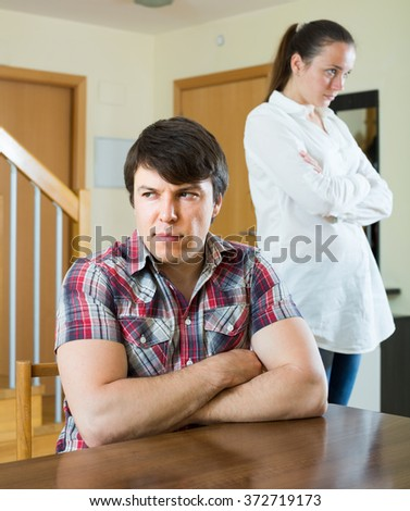 Woman having problems with her adult european husband at home