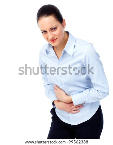 Woman having  stomach pain. Isolated on white background. - stock photo