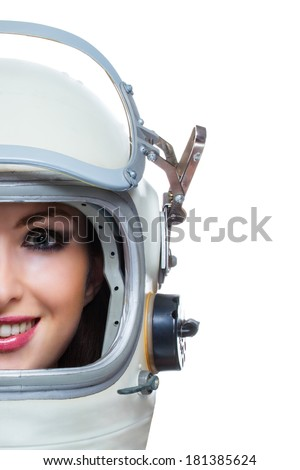 Woman head with vintage space helmet isolated on white background. Beauty cosmonaut with copy space - stock photo