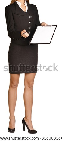 Woman headless holding a pen and clipboard. on white background. - stock photo