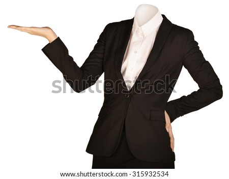 Woman headless standing holding up his right hand. - stock photo