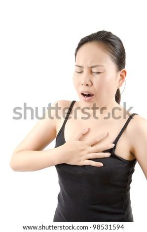 Woman Heart disease. - stock photo