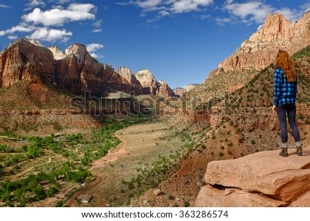 Woman Hiker Overlooking Zion Canyon.  Zion National Park, Utah. - stock photo