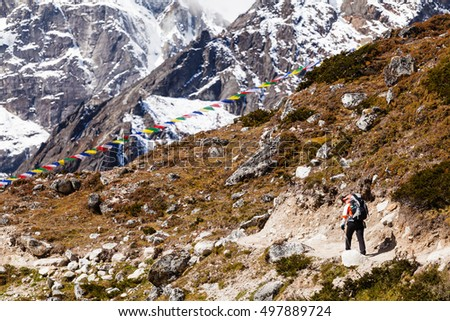 Woman hiker trekking with big backpack in Himalaya Mountains on Rocky Trail. Person on hiking trail backpacking in high mountains and inspirational landscape. Looking at beautiful mountain view.