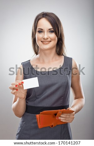 Woman hold business card.  Isolated portrait. Blank card .
