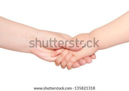 Woman hold hand of little child isolated - stock photo