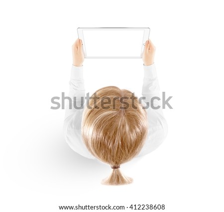 Woman hold tablet pc mockup in hand, top view isolated. White mobile ebook mock up holding in female hands from above. Blank white ipad tablet screen monitor. Clear horizontal display booklet person. - stock photo