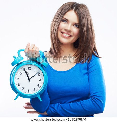 Woman hold watch on white background. Isolated girl model.