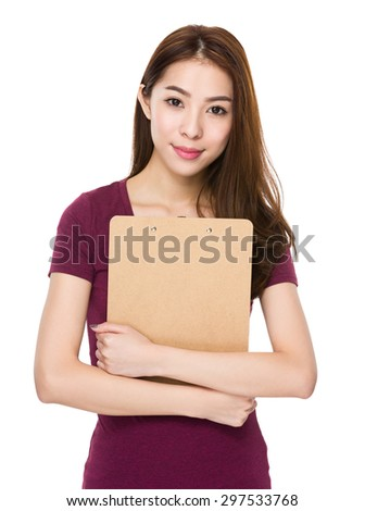 Woman hold with file board